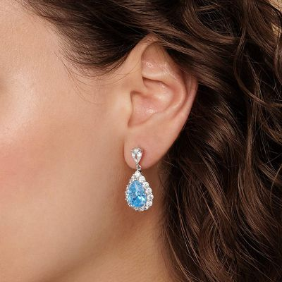 Azure Gemstone Dangle Earrings