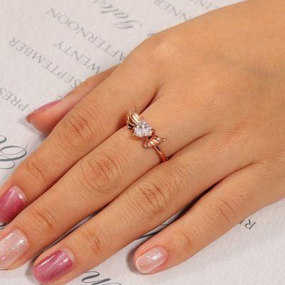 Heart Cut Stone Wings Ring