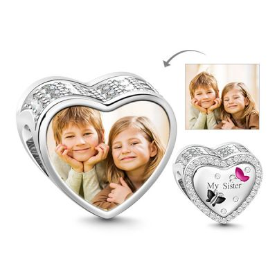 Heart Shaped Sister 925 Sterling Silver Photo Charm Bead