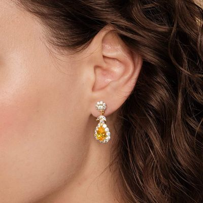 Noble Yellow Dangle Earrings