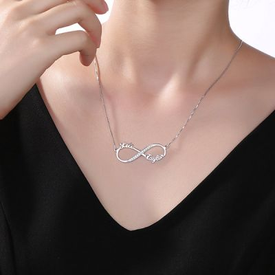 2 Names Infinity CZ Necklace