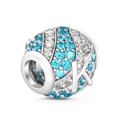 Letter K Charm with Aquamarine & Clear CZ 925 Sterling Silver