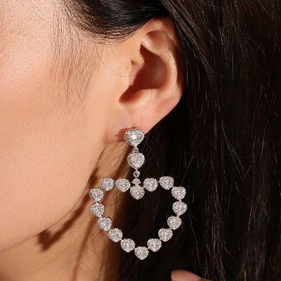 Heart Diamond Dangle Earrings