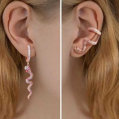 Pink Eyes Snake Earrings