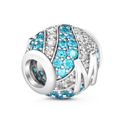 Letter M Charm with Aquamarine & Clear CZ 925 Sterling Silver