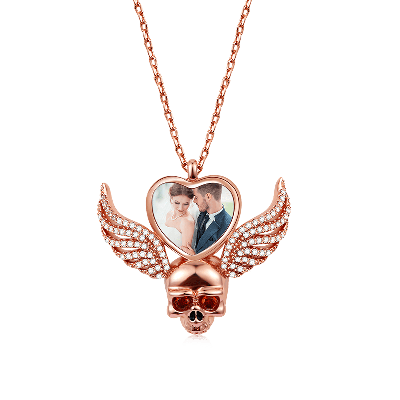 Wings Skull Photo Necklace