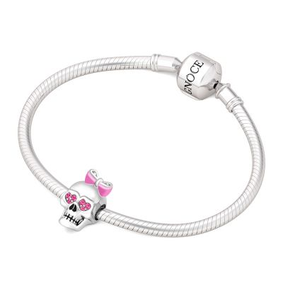 Skull with Pink Bowknot Charm
