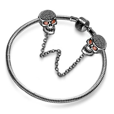 Black 925 Sterling Silver Skull Safety Chain for Charm Bracelets