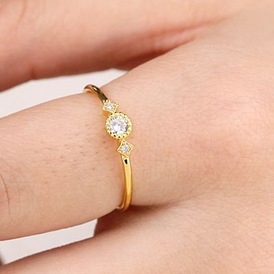 Star Moon Ring with Crystal