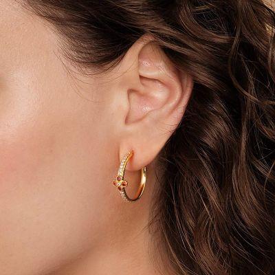 Tiny Flower Hoop Earrings