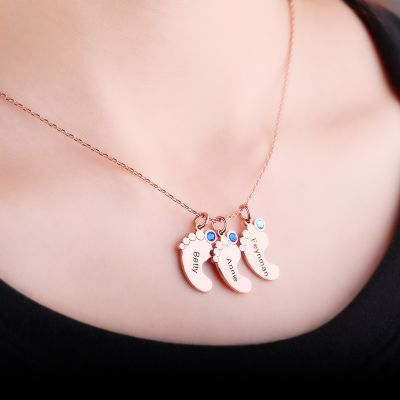 Baby Feet Engravable Necklace