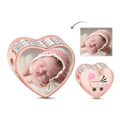 Heart Shape 18k Rose Gold Plated White Stones Pram Photo Charm Bead 925 sterling silver