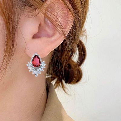 Sumptuous Red Zircon Studs