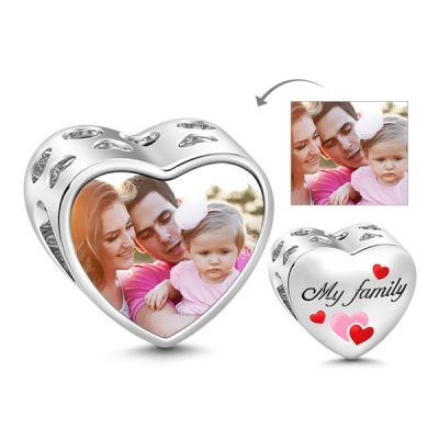 Family Heart Photo Charm