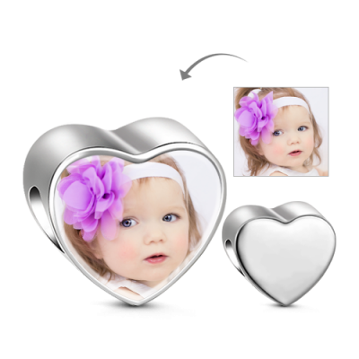 Silver Heart Photo Charm