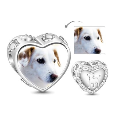 Heart Shaped Puppy Photo Charm Bead White Sapphire 925 Sterling Silver