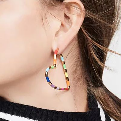 Colorful Heart Hoop Earrings