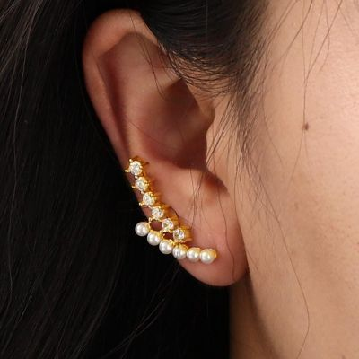 Pearl Climbers Earrings