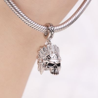 Indian Chieftain Skull Charm