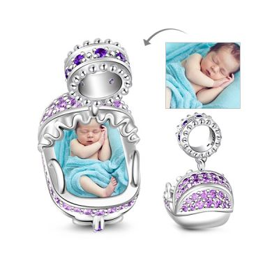 Amythest Sapphire New Baby Cradle 925 Sterling Silver Photo Charm Bead