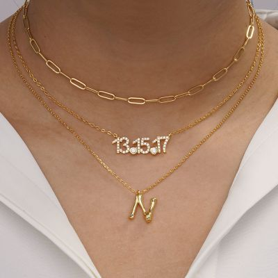 Bamboo Initial N Necklace