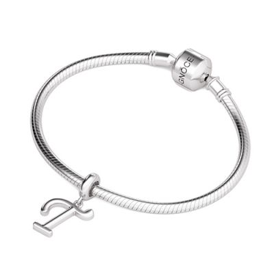 Letter T 925 Sterling Silver Dangling Charm Great for Bracelet Necklace
