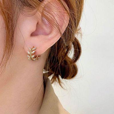 Olive Leaves Hoop Earrings