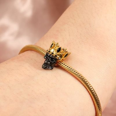 Black Crown Skull Charm