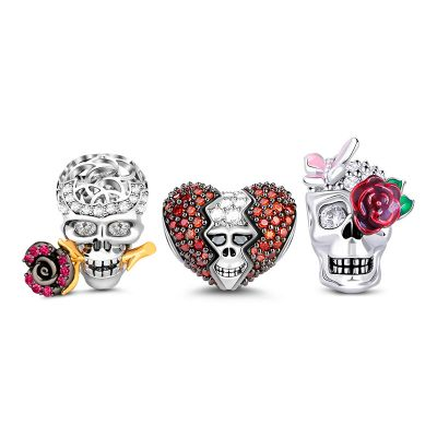 Rose Skull Charms Set
