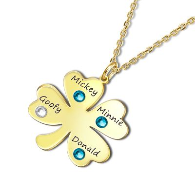 Four-leaf Engravable Necklace