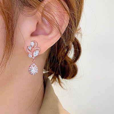 Flower Water Drop Dangle Earrings