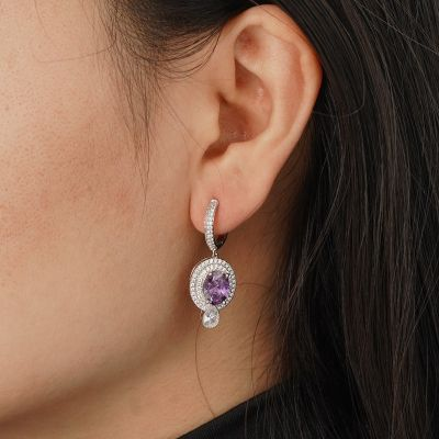 Purple Sparking Dangle Earrings