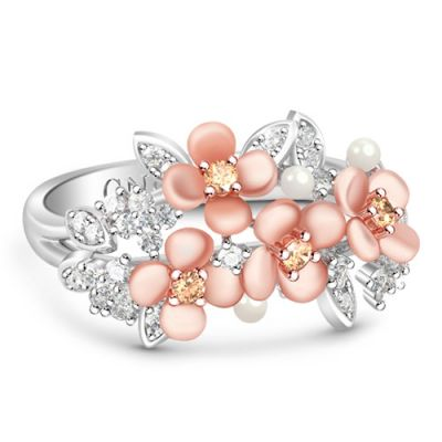 Flowers Ring with White stones