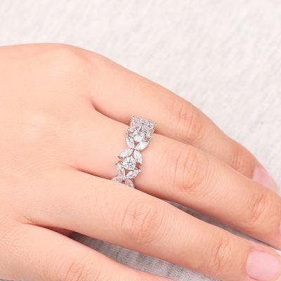 White Flower Band Ring