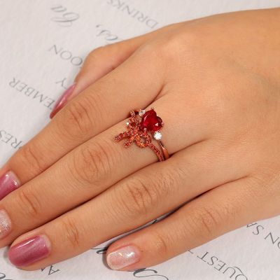 Heart & Bow-Knot Ring Set