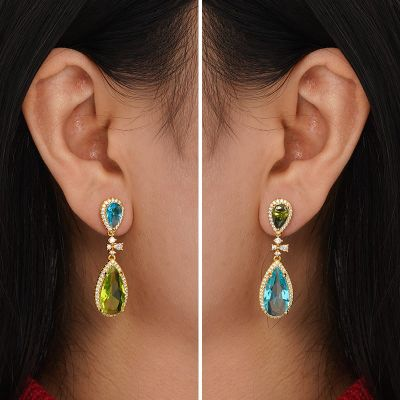 Colorful Gemstone Dangle Earrings