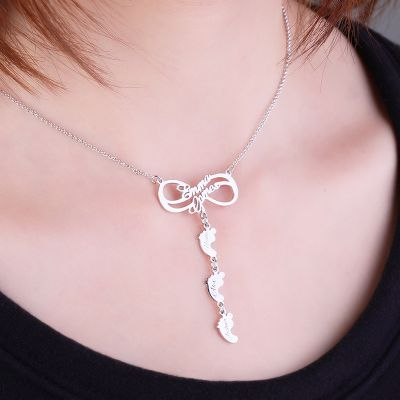 Baby Feet Infinity Necklace