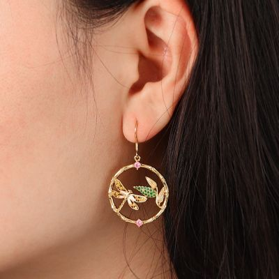 Dragonfly and Leafs Earrings