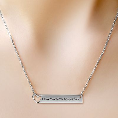 Silver Heart Bar Necklace