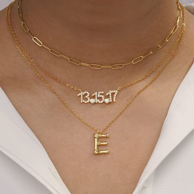 Bamboo Initial E Necklace