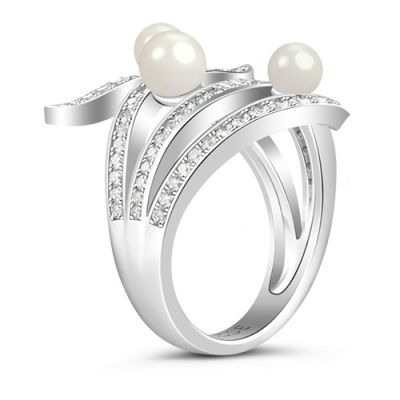 White Stones Pearls Ring