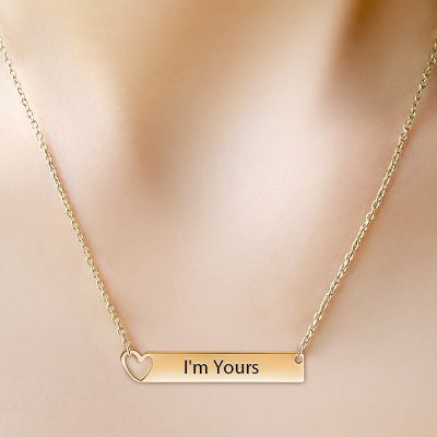 Golden Heart Bar Necklace