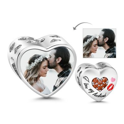 I Love My Husband Hollow Hearts 925 Sterling Silver Photo Charm Bead