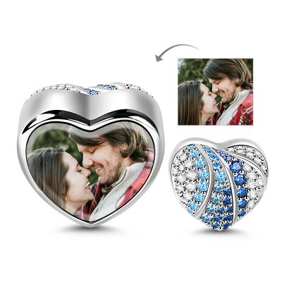 Blue Heart Photo Charm