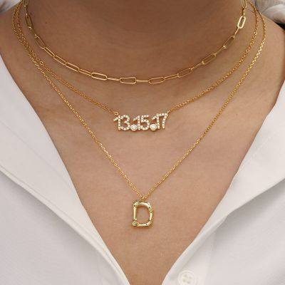 Bamboo Initial D Necklace