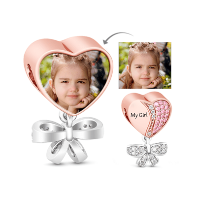 My Girl Photo Charm 18k Rose Gold Plated for Daughter Pink Stones 925 Sterling Silver Bead