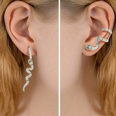 Green Eye Snake Earrings