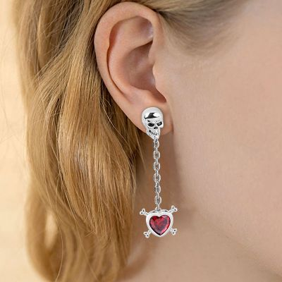 Red Stone Skull Earring