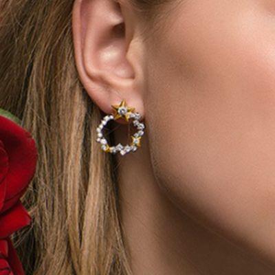 Star Moon Hoop Earrings