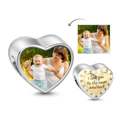 Golden Heart Photo Charm
